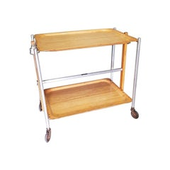 Mid-20th Century French Foldable Serving Cart or Trolley