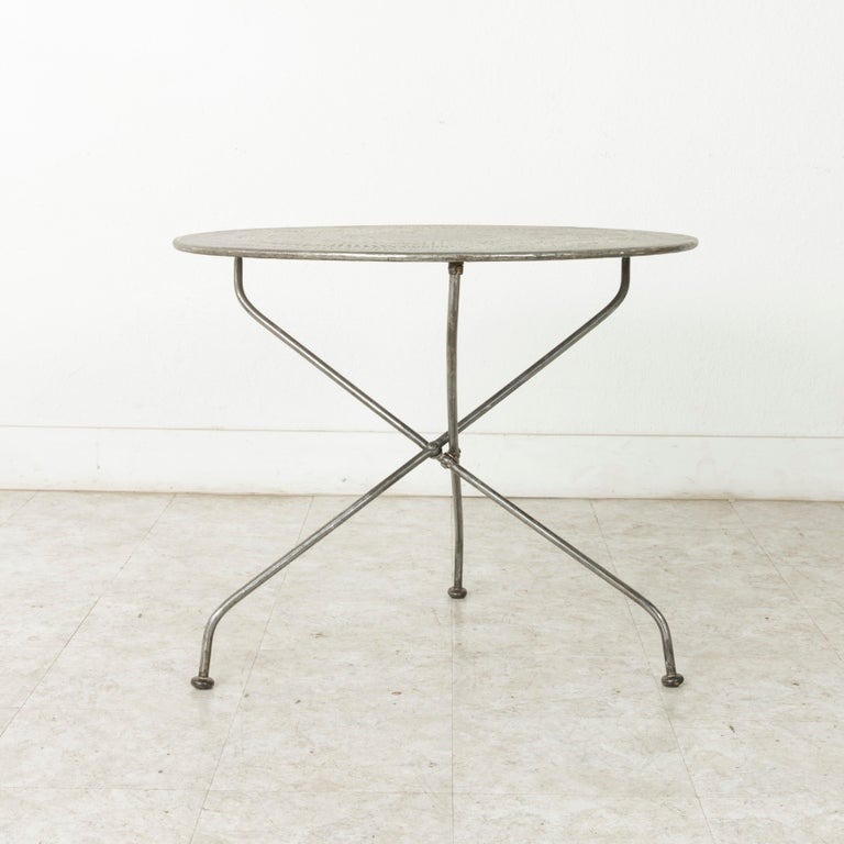Mid-20th Century French Folding Pierced Metal Outdoor Garden Table, Cafe Table For Sale 4