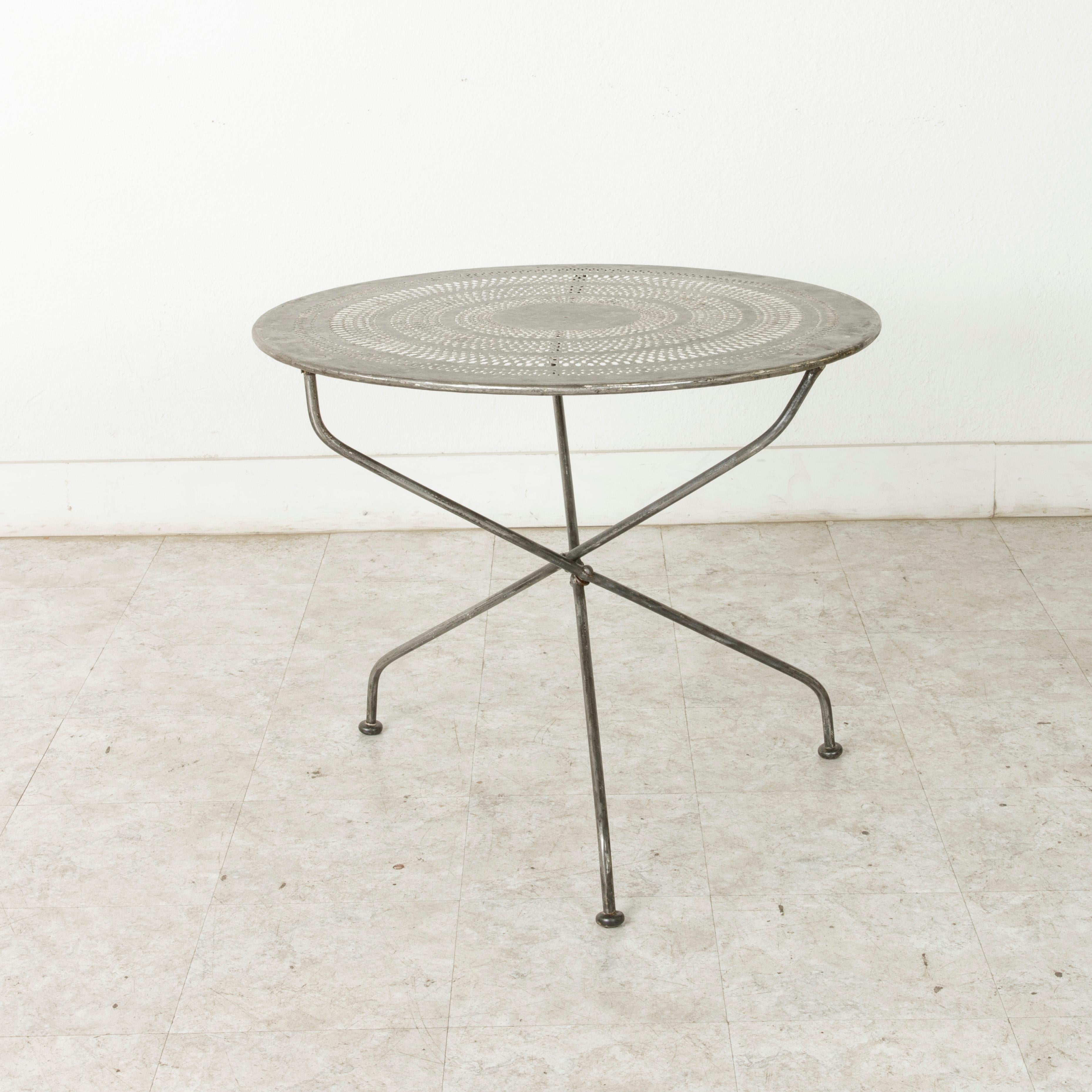 Mid 20th Century French Folding Pierced Metal Outdoor Garden Table, Cafe  Table