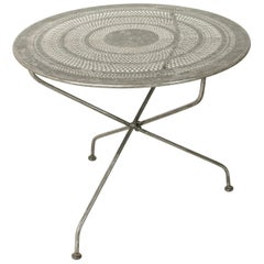 Mid-20th Century French Folding Pierced Metal Outdoor Garden Table, Cafe Table