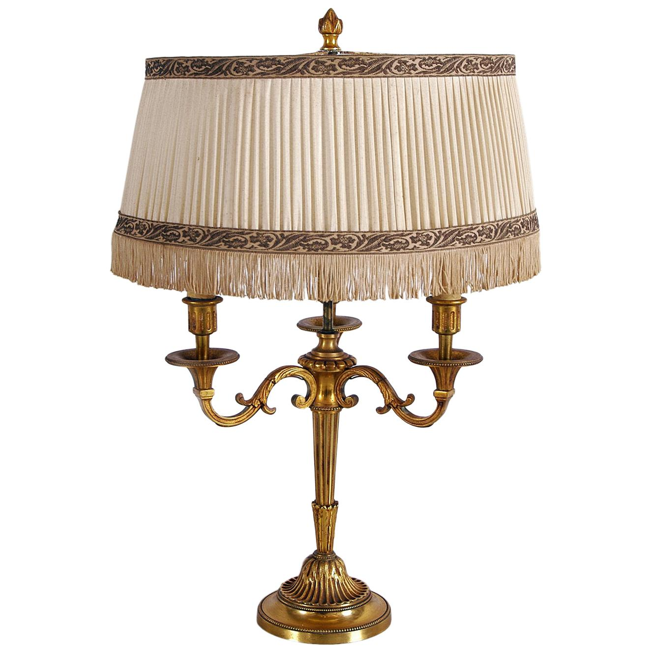 Mid-20th Century French Gilt Brass Bouillotte Table Lamp