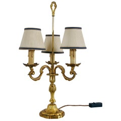 Mid-20th Century French Gilt Brass Three-Arm Table Lamp