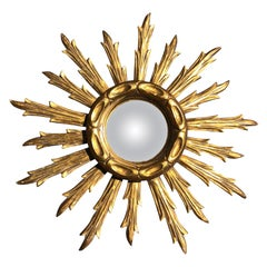 Mid-20th Century French Giltwood Sunburst Mirror