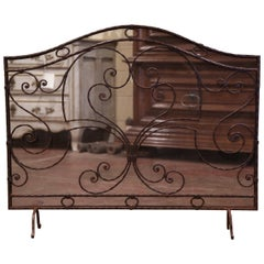 Mid-20th Century French Gothic Wrought Iron and Mesh Fireplace Screen