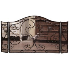 Mid-20th Century French Gothic Wrought Iron Three-Panel Fireplace Screen