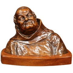 Mid-20th Century French Hand Carved Walnut Monk Bust in Cassock