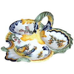 Mid-20th Century French Hand Painted Faience Dish Signed Henriot Quimper