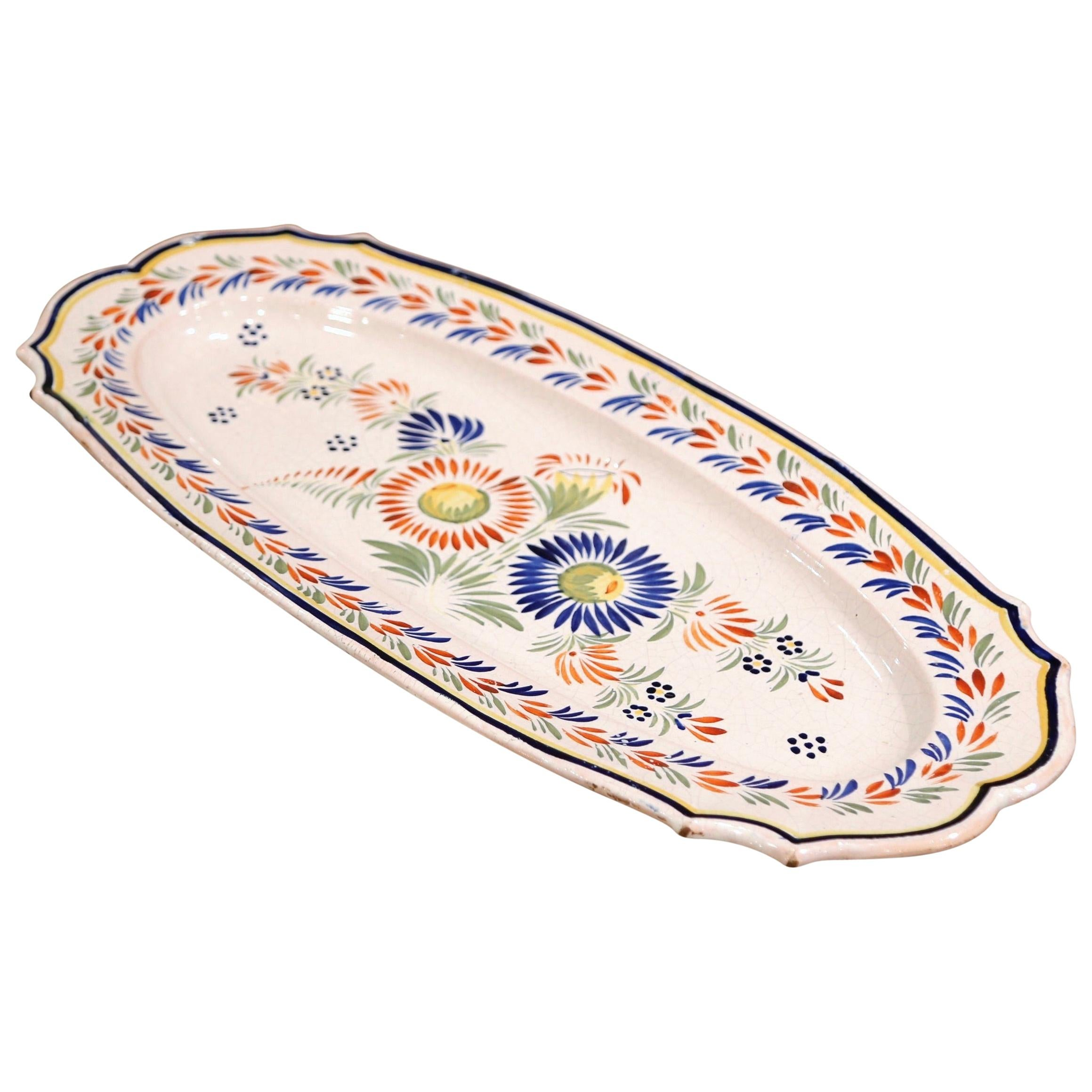 Mid-20th Century French Hand Painted Faience Fish Platter Quimper Style