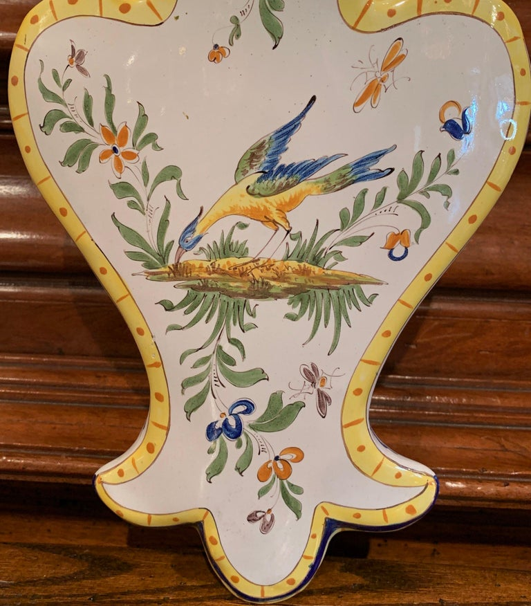 Hand-Painted Mid-20th Century French Hand Painted Faience Wall Letter Holder For Sale