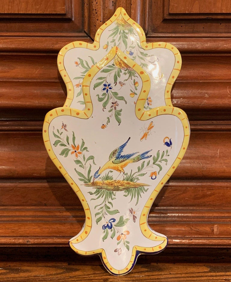 Mid-20th Century French Hand Painted Faience Wall Letter Holder For Sale 1