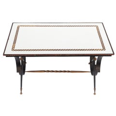 Mid-20th Century French Iron and Églomisé Coffee Table