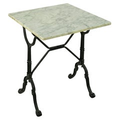 Mid-20th Century French Iron Bistro Table with Square Marble Top