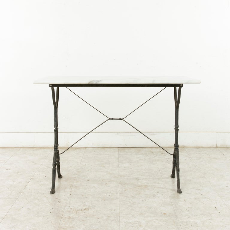 Mid-20th Century French Iron Bistro Table with White Marble Top For Sale 2