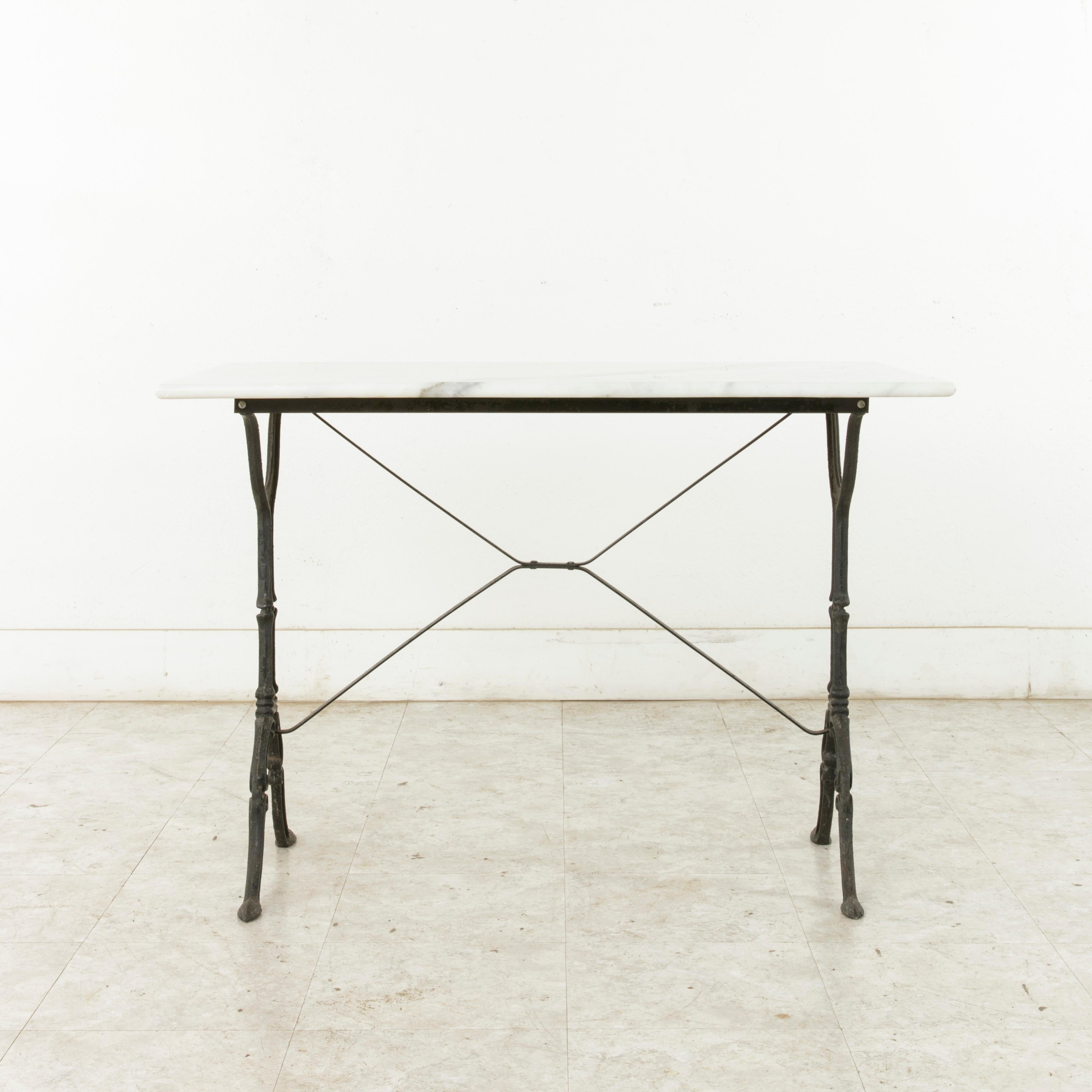 Mid 20th Century French Iron Bistro Table With White Marble Top