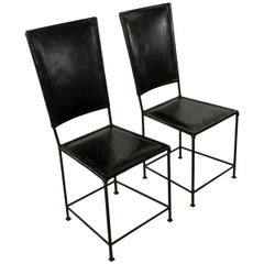 Mid-20th Century French Iron Side Chairs With Leather Seats and Backs