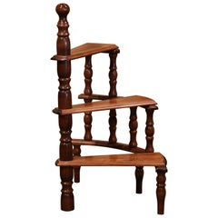 Mid-20th Century French Louis XIII Carved Library Three-Step Ladder Staircase