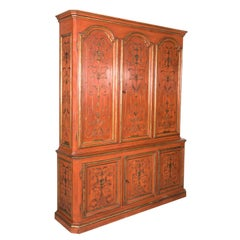 Mid-20th Century French Louis XIV Style Red Lacquer Chinoiserie Buffet Deux Corp