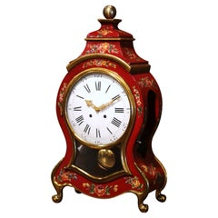 Mid-20th Century French Louis XV Carved Mantel Clock with Painted Floral Motifs