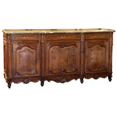 Mid-20th Century French Louis XV Carved Walnut Three-Door Buffet with Marble Top