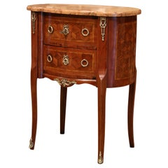 Mid-20th Century French Louis XV Walnut Commode Chest of Drawers with Marble Top