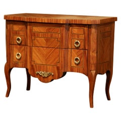 Mid-20th Century French Louis XV Walnut Veneer Marquetry Inlay Miniature Commode