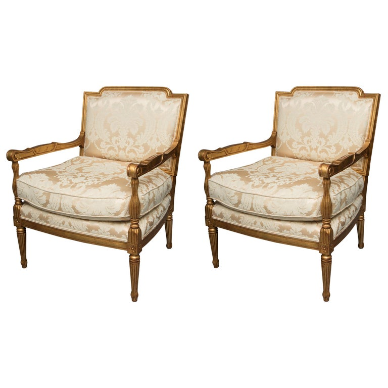 Mid-20th Century French Louis XVI Fauteuil Chairs For Sale
