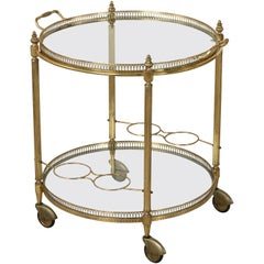Mid-20th Century French Louis XVI Style Brass and Glass Bar Cart