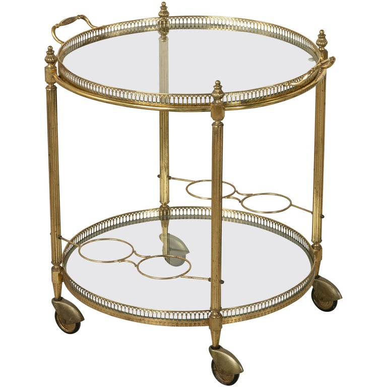 Mid-20th Century French Louis XVI Style Brass and Glass Bar Cart For Sale