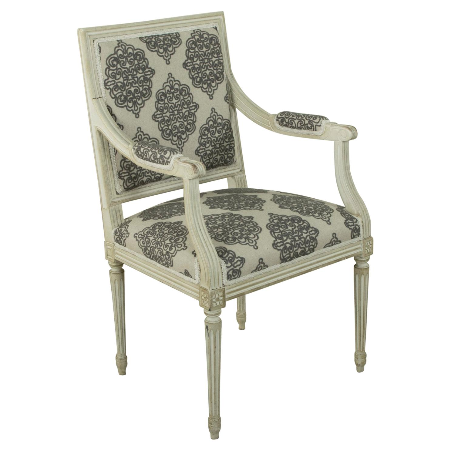 Mid-20th Century French Louis XVI Style Painted White Armchair