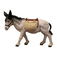 Mid-20th Century French Painted Ceramic Barbotine Donkey Sculpture