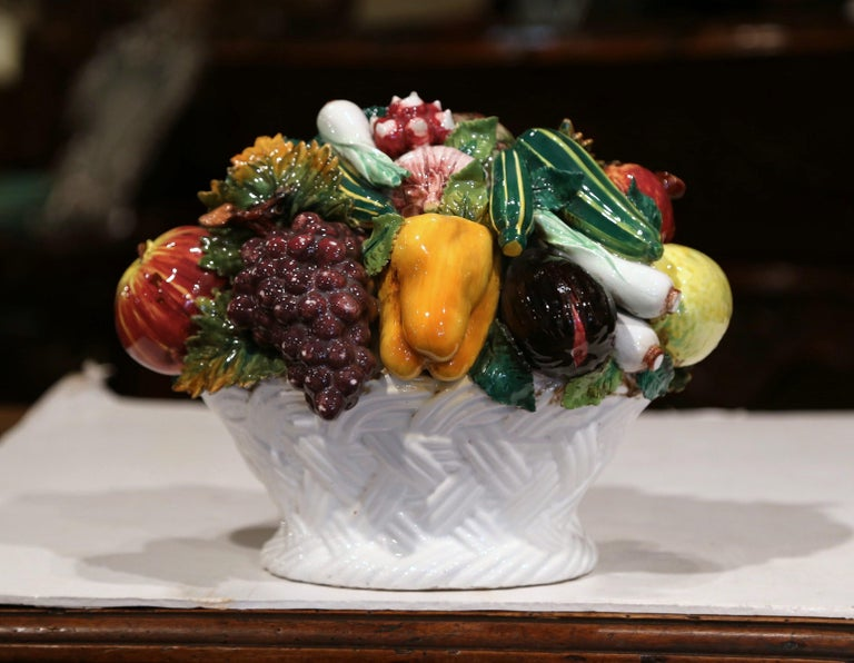 Hand-Crafted Mid-20th Century French Painted Ceramic Barbotine Fruit Basket Composition For Sale