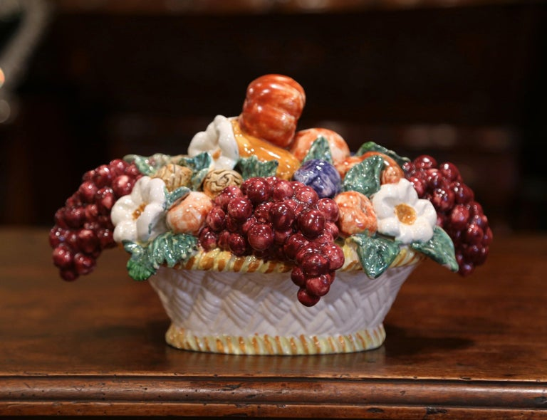 Mid-20th Century French Painted Ceramic Barbotine Fruit Basket Composition In Excellent Condition For Sale In Dallas, TX