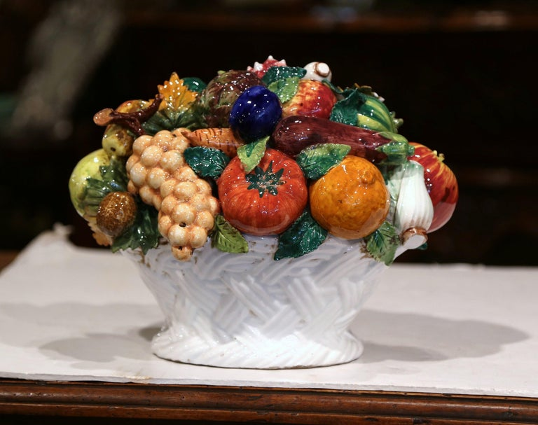 Mid-20th Century French Painted Ceramic Barbotine Fruit Basket Composition For Sale 2