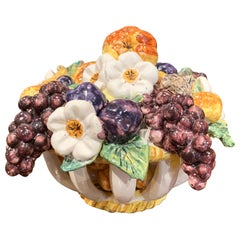Mid-20th Century French Painted Ceramic Barbotine Fruit Basket Composition
