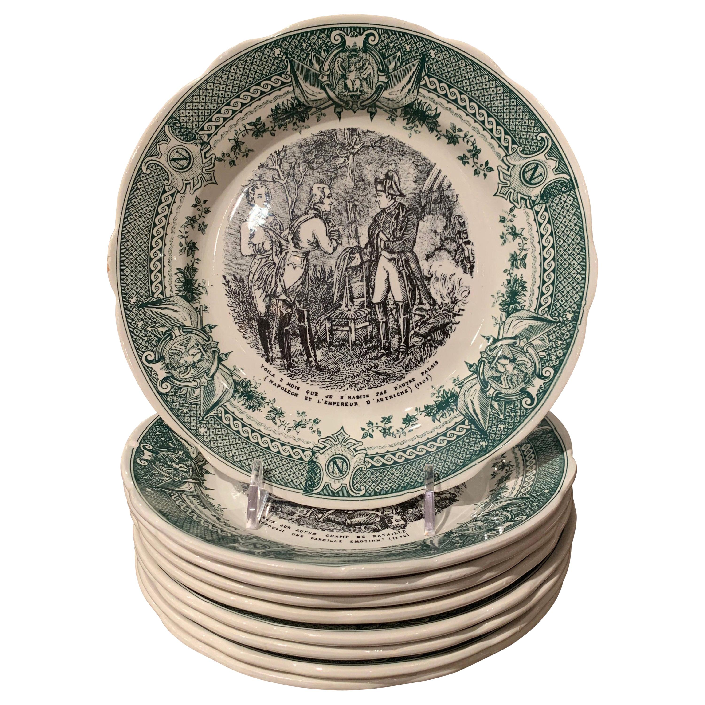 Mid-20th Century French Painted Napoleonic Sarreguemines Ceramic Plates Set of 9