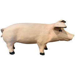 Mid-20th Century French Painted Pig Sculpture