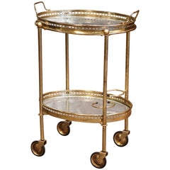 Mid 20th Century French Polished Brass Tray Top Service Bar Cart on Wheels