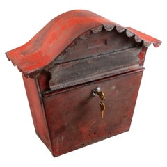 Mid-20th Century French Red Metal Mailbox with Lock and Key