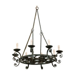 Mid-20th Century French Round Scrolled Iron Chandelier with Lovely Patina
