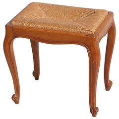 Mid-20th Century French Rush Seat Stool