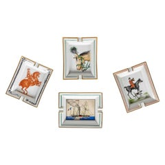 Mid-20th Century French Set of Four Equestrian Ash Trays by Hermès