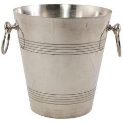 Mid-20th Century French Silver Plate Champagne Bucket, Wine Chiller Ring Handles