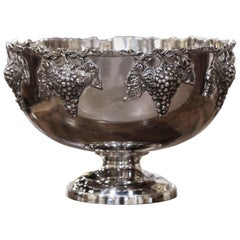 Mid-20th Century French Silver Plated Wine Cooler Bowl with Grape and Vine Decor