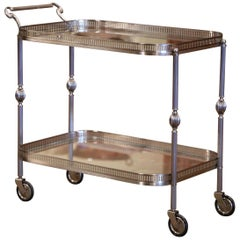 Mid-20th Century French Silvered and Glass Desert Table or Bar Cart on Wheels