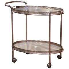 Mid-20th Century French Silvered and Glass Desert Two-Tier Service or Bar Cart