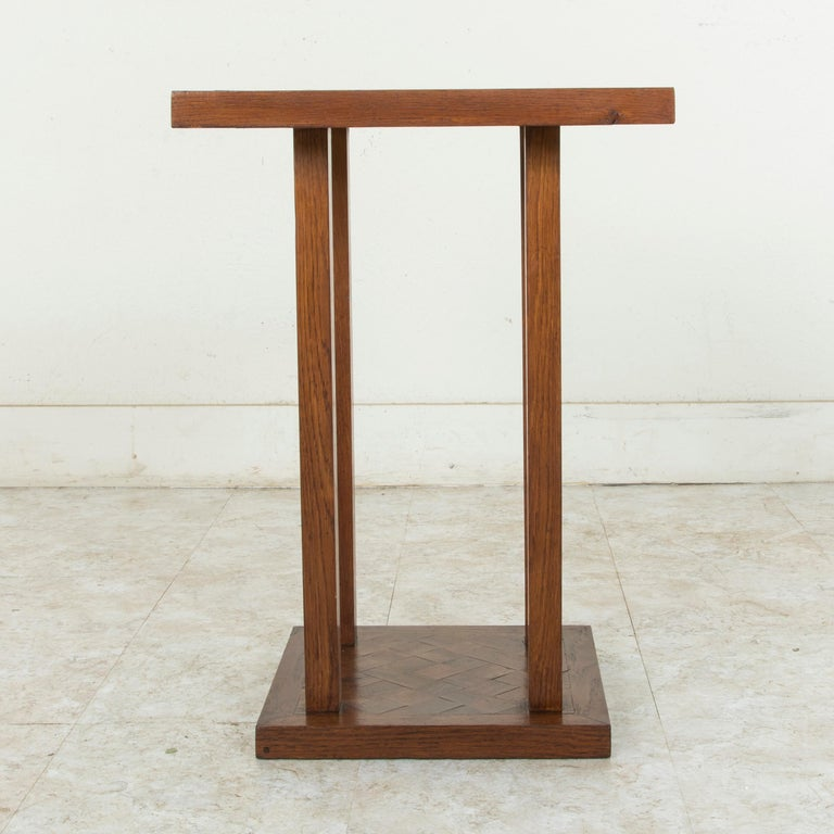 Mid-20th Century French Square Oak Marquetry Side Table or End Table For Sale 2
