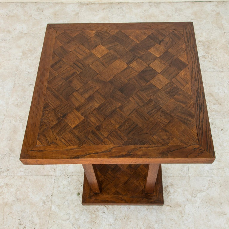 Mid-20th Century French Square Oak Marquetry Side Table or End Table For Sale 3