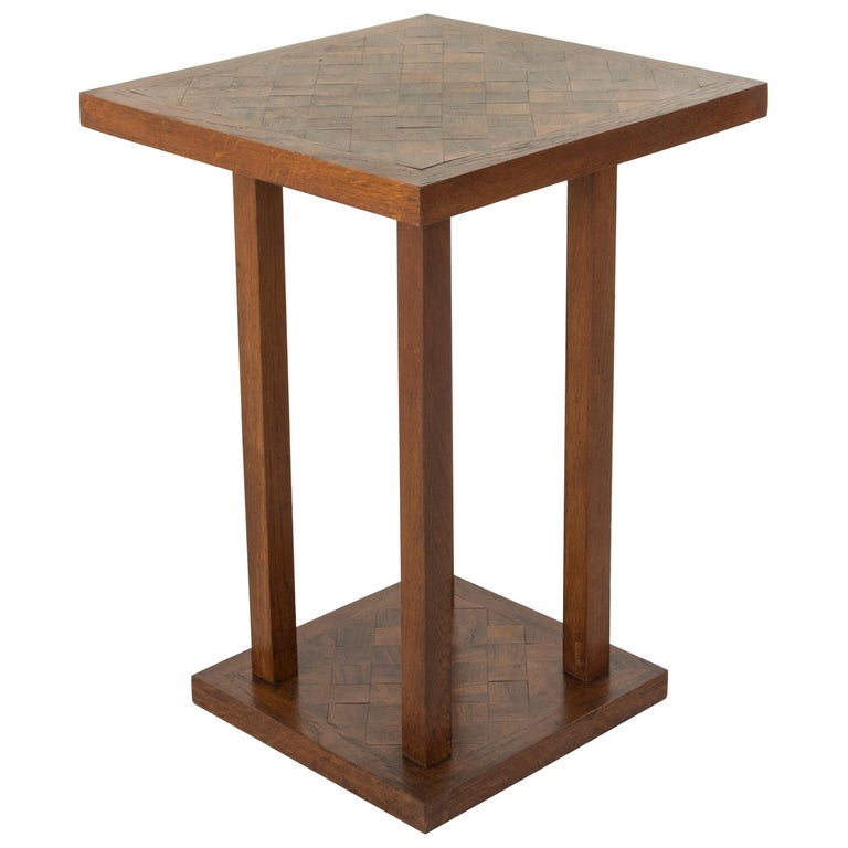 Mid-20th Century French Square Oak Marquetry Side Table or End Table For Sale