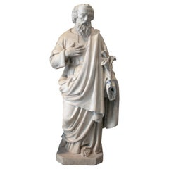 Mid-20th Century French St Joseph Reconstituted Stone Terracotta Statue