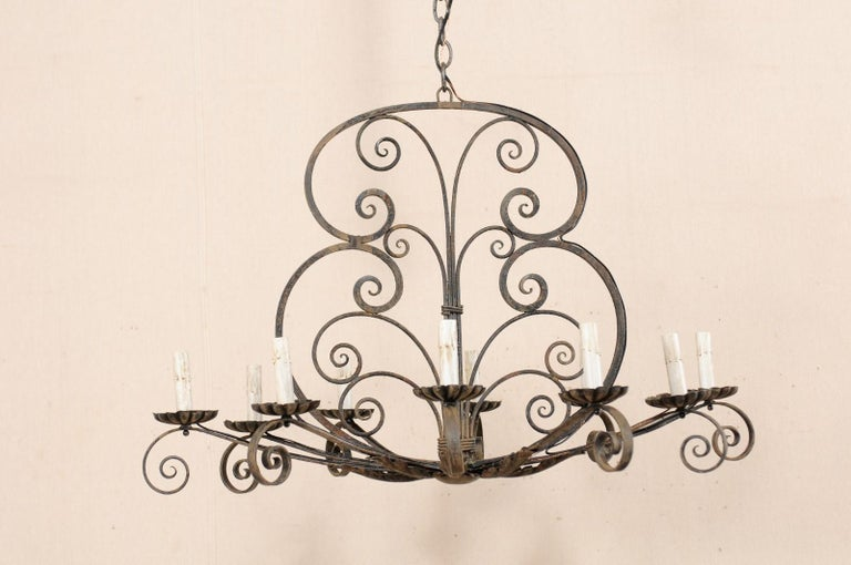 Painted Mid-20th Century French Ten-Light Iron Chandelier For Sale